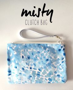 The Misty - A hand painted watercolour style handmade fully lined zipped clutch bag with leather wrist strap