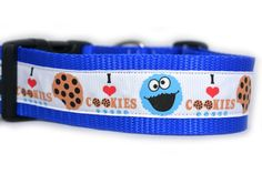 Cookie Monster Dog Collar 1.5 inch wide available by Apolloscloset, $14.00