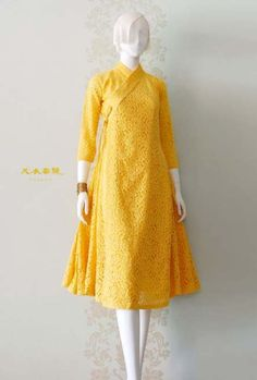 Dress yellow brokat 60 ideas for 2019 Trendy Dresses, Simple Dresses, Casual Dresses, Fashion Dresses, Dress Brukat, Batik Dress, Kimono, Korean Traditional Dress, Traditional Dresses