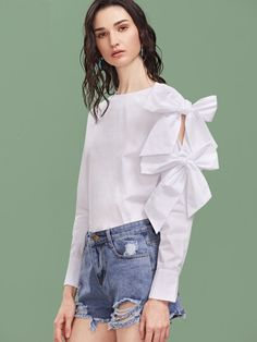 White Bow Embellished Sleeve Buttoned Cuff Top Only US$18.00