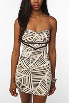 Reverse Triangle Stripe Printed Bustier Knit Dress, $69.00