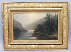 This is a superb estate found Hudson River School oil painting on canvas dating to the 1880s. The beautiful Adirondack mountain scene features a view of Chapel Lake in Keene, New York. Mature pine trees rise up on the banks of the pond with the mountains looming in the background. | eBay!
