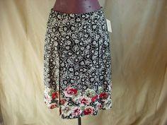 Croft and Barrow Skirt Black with Floral size 8 NEW Drop Pleat A-Line #CroftBarrow #ALine Seller florasgarden on ebay