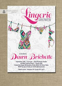 Lingerie Shower Invitation Lace Pink Navy Preppy Lilly Pulitzer Inspired Bridal Shower Invite FREE PRIORITY SHIPPING or DiY Printable - Dawn