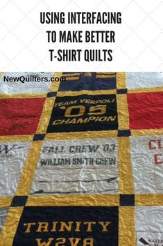 A deep dive into the facts about interfacing and how you can use it to make better t-shirt quilts. Article from NewQuilt Quilting For Beginners, Quilting Tips, Art Quilting, Quilting Projects, T-shirt Quilts, Easy Quilts, T-shirt Broderie, Book Quilt, Vintage Quilts