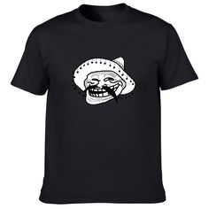 Men's DIY Cotton T-shirt, Funny Ice Troll Face Short Sleeve, Van T-shirt Fashion 2017 new style
