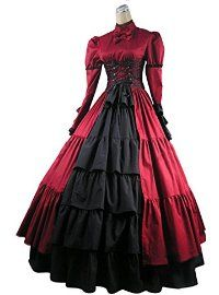 AvaLolita Long Sleeve Floor Length Vintage Towering Gothic Victorian Dress, XS, Red