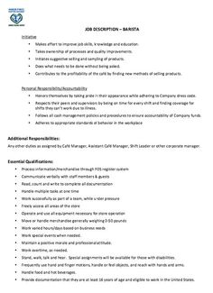 in post this time we will give a example about sample of barista job description resume that will give you ideas and provide a reference for your own resume