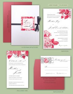 English Garden Rose Floral Invitation Suite