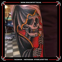 Traditional Reaper tattoo on the upper arm.  Designed and Tattooed by: Tadeja Dragon Tattoo Skull Tattoo Design, Tattoo Designs, Reaper Tattoo, Tattoo Portfolio, First Tattoo, Color Tattoo, Traditional Tattoo, Old School, Arms