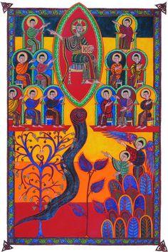 Pascal Meier, la Jérusalem céleste, folio 64. Tempera, or en feuille, eau de noyer sur papier d'Arches, format : 420 x 420 mm.  Extrait de L'Apocalypse de Jean enluminée.
