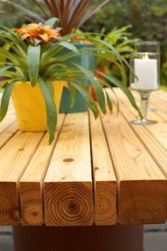 Outdoor table made of 2 x 4's and 4 x 4's