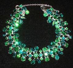Dazzling Emerald Green and Aqua Blue Sherman Bracelet | Collectors Weekly