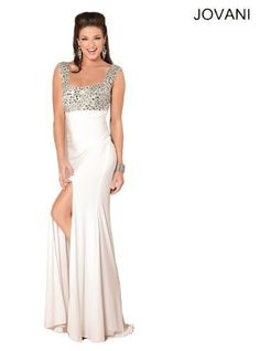 Jovani 1581 Off White Evening Gown Prom Formal Dress 0 4 6: Take a walk on the glitzy side with this traffic-stopping Jovani 1581 creation! Brightly twinkling rhinestones liven up the style of the bodice, which has a curved neckline, and run up each of the broad shoulder straps. Ruched material runs down from the empire waist before segueing into a sleek, floor-length skirt with an up-to-there side slit. $500.00