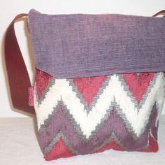 Sac à main berlingot violet et rose en velours et cuir