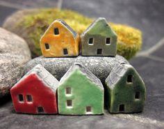 5 Saggar Fired Miniature House Beads