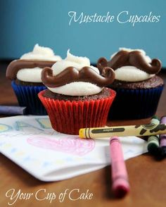 Fathers Day Cupcakes with Chocolate Cupcake Recipes, Baking Recipes, Cupcake Cakes, Dessert Recipes, Cupcake Ideas, Cupcake Decorations, Cupcake Toppers, Love Cupcakes, Yummy Cupcakes