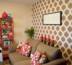Cutting Edge Stencils shares a DIY stenciled accent wall in an apartment using the Cascade Allover Stencil pattern. Stencil Decor, Wall Stencil Patterns, Geometric Stencil, Cutting Edge Stencils, Stenciling, Pinterest Blog, Curtain Fabric, Cool Walls, Your Space