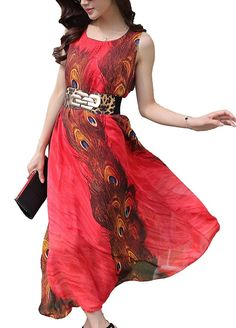 Women's Peacock Printed Bohemian Summer Maxi Dress >>> Trust me, this is great! Click the image. : homecoming dresses
