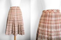1960's French Vintage Preppy Wool Pleated Plaid by RosesAndRuins - StyleSays