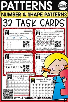 32 Number and Shape Patterns Task Cards which includes everything you need to review math patterns that follow a given rule. Help your students review finding patterns within numbers and shapes.  Perfect for review, Scoot game, math center, assessment tool, or test prep!    •repeating patterns  •number sequences  •patterns in tables  •patterns and rules in tables  •translating words to numerical expressions  This product is aligned to 4.OA.5
