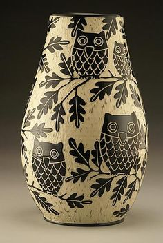 Owl Family Vase: Large by Jennifer  Falter: Ceramic Vase available at www.artfulhome.com