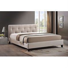 Queen style size Beige Fabric Upholstered Platform Bed with Headboard