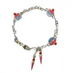 Childrens jewelry:  cupcakes and icecreams in a sterling silver childrens bracelet
