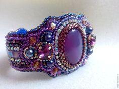 """Купить Браслет """"Фиолет"""" - фиолетовый, браслет, браслет из бисера, браслет с камнями, кабошон, жемчуг"""