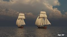 Sails and dark skies. Sailing Ships