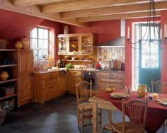 Red Kitchen walls my colour!