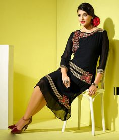 Georgette Black HOVKAIRM19 Patch Work Designer Kurti - IRM19 In Stock: Rs 1,645