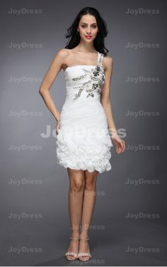 white mini dresses,Cascading Ruffle Sheath One Shoulder Short Dress
