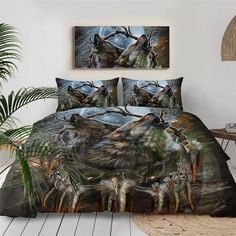 """Our uniqueHowling Wolves Dreamcatcher Bedding Set will brighten up your entire bedroom and elevate your decor to a whole new level. Choose your size and get ready to hear all the compliments from your friends and family. Amazing Artwork created by the talented@SunimaArtfrom Norway! Specifications: Packing List: 1* Duvet Cover + (1 or 2)* Pillow Cases Fabric: Microfiber Quantity: 2 or 3 pcs Fabric Density:133X72 Size Chart: United States size: US Twin: 1 Duvet Cover 68""""x86""""(172x218 Wolf Dreamcatcher, Bedclothes, Wolf Moon, Bedding Sets, 3d Bedding, Comforter, Wolf Howling, Cool Artwork, Amazing Artwork"""