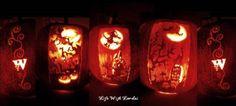Pumpkin Carving 3 pumpkins together make one whole scene
