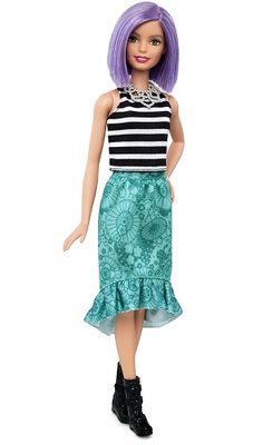 2016: Barbie Fashionistas Doll 18. Va-Va-Violet - Original. Purple hair, black buckle booties, silver necklace, sleeveless striped top. Teal skirt wtih ruffled hem. Mattel introduces new Barbie body types. The new 2016 Fashionistas Line. The Evolution Of Barbie