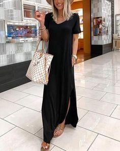 V-neck Casual Dress With Pocket – Dressisi Maxi Outfits, Blue Dresses, Casual Dresses, Summer Dresses, 1950s Dresses, Mini Dresses, Vintage Dresses, Tutu, Bikini Sets
