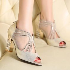 Women's Genuine Leather Mesh Patchwork High-Heeled Sandals