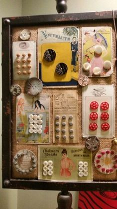 Barb Weeks antique button card display Sewing Room Decor, My Sewing Room, Sewing Rooms, Sewing Box, Sewing Spaces, Sewing Crafts, Sewing Projects, Craft Projects, Notions De Couture