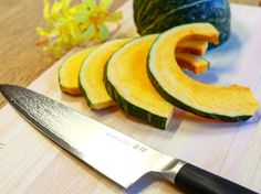 Easy slicing hard pumpkin!! Anyone with this kitchen knows better cooking!  #chefknife #chefstuff #kitchenstuff #kitchentools #kitchenknife #kitchenware #kitchenset #kitchenstyle #cheflife #kitchenlife #chefs #chefstalk #cheftable #chefstyle #chefskills #chefsgallery #chefschoice #chefkitchen #cutlery #knives #culinary #homecooking #knifesale  #culinaryarts #chefsoninstagram Kitchen Knives, Kitchen Tools, Chef's Choice, Professional Chef, Chef Knife, Kitchen Sets, Culinary Arts, Cutlery, Kitchenware