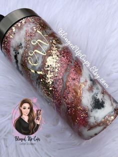 Rose gold Marble Milky Way Glitter Tumbler Wedding Party Diy Tumblers, Custom Tumblers, Glitter Tumblers, Acrylic Tumblers, Glitter Roses, Glitter Cups, Rose Gold Marble, Tumbler Designs, Personalized Cups