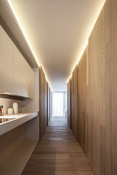 modern corridor design with concrete floor and indirect . modern corridor design with concrete flo Corridor Lighting, Cove Lighting, Indirect Lighting, Rustic Lighting, Strip Lighting, Interior Lighting, Lighting Design, Lighting Ideas, Entryway Lighting