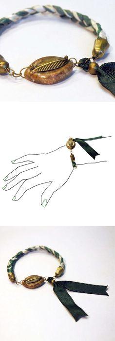 Handmade brazalet. Unique design. Silk ribbon & soap stone. See all the collection at http://en.dawanda.com/shop/caixademistos