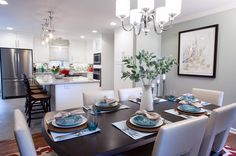 On Nadine and Greg's episode of Property Brothers, it was actually Drew who chose this stylish chandelier to go over the dining table. It is a Quoizel Downtown chandelier! Click the pic to get one for yourself! Property Brothers Kitchen, Property Brothers Designs, Home Decor Kitchen, Home Kitchens, Kitchen Dining, Grey Kitchens, Open Concept Kitchen, Dining Area, Dining Rooms
