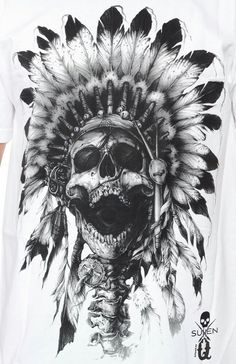 Printed on a white cotton, it also features the Sullen skull and cross brush logo in between the back shoulder. Indian Headdress Tattoo, Indian Skull Tattoos, Sugar Skull Tattoos, Bird Skull Tattoo, Skull Tattoo Design, Tattoo Owl, Tattoo Animal, Tattoo Hand, Native American Tattoos