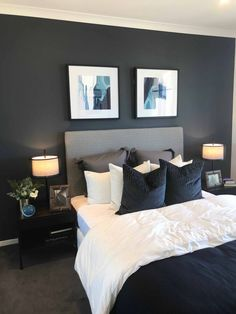 Today I have put together a collection of inspiring master bedroom ideas with beautiful color schemes that will create visual interest, comfort and warmth. Blue And Gold Bedroom, Modern Grey Bedroom, Dark Blue Bedrooms, Grey Bedroom Decor, Dark Gray Bedroom, Bedroom Furniture, Grey Bedroom Colors, Charcoal Grey Bedrooms, Black White And Grey Bedroom