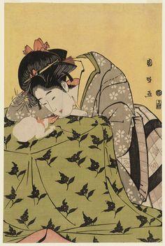 Utagawa Kunimasa. Woman, Cat, and Kotatsu (Kotatsu de Asobu Onna, 炬燵で遊ぶ女)  Edo period, 1796    Ukiyo-e print; bijin-ga    Collection of Museum of fine arts Boston