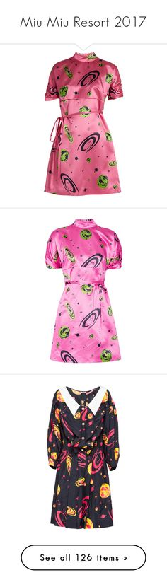 """Miu Miu Resort 2017"" by mariots22 ❤ liked on Polyvore featuring dresses, pink print, short dresses, short party dresses, glitter dress, short silk dress, holiday party dresses, miu miu, vestidos and lace up dress"