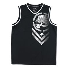 Keep up the good look with this Metal Mulisha jersey tank top. This jersey is made of 100% polyester and has a lightweight mock mesh core jersey fit. Featuring contrast faux piping, a large chevron sc
