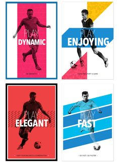 Play like a football master by Emilio Sansolini, via Behance -- Typography Posters & Templates Website Design Layout, Web Design, Logo Design, Football Poses, Newsletter Layout, Sports Advertising, Sports Graphic Design, Shape Posters, Sports Website